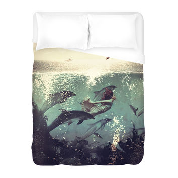 Girl and Dolphin Duvet Cover