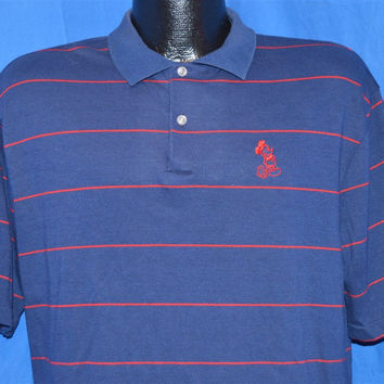 80s Disney Mickey Mouse Blue Polo Shirt Large