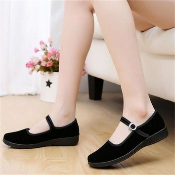 2017 Mary Janes Ladies Flats Buckle Strap Comfortable Women Shoes Round Toe Solid Casu