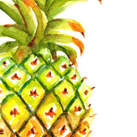 Pineapple Painting, ORIGINAL Watercolor, 5x7 matted to 8x10, gift ready, kitchen art, fruit, whole pineapple, Hawaiian, Exotic, Tropical