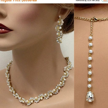 Bridal jewelry, Bridal back drop necklace earrings, vintage inspired rhinestone pearl bridal statement, Golden bridesmaid jewelry set