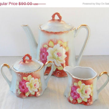 On Sale Vintage Nippon Hand Painted Porcelain Tea Pot, Creamer and Sugar Bowl, Tea Party Set, Wedding, Antique, Tea Service Set,Table Settin