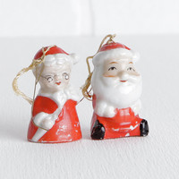 Vintage 60s Santa Claus and Mrs. Claus Ceramic Bell Ornaments, Made in Japan