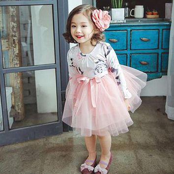 New Autumn Baby Kids Dresses Children Girls Long Sleeve Floral Princess Dress Tulle Tutu Dresses for Toddlers Baby Girls Clothes