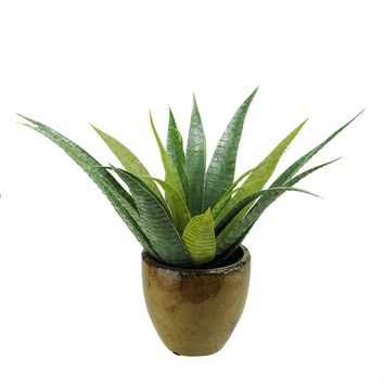 """16"""" Artificial Green Agave Succulent Plant in a Decorative Brown Pot"""