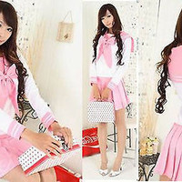 Japanese Japan School Girl Pink long-sleeved Uniform Cosplay Costume New-T034
