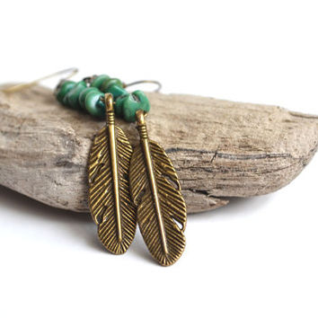 Woodland Feather Earrings. Turquoise Earthy Jewelry. Nature Inspired Jewelry. Feather Charm Turquoise Chips.Canadian Shop