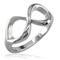 Classic Infinity Ring, 10mm Wide in Sterling Silver size 6.5