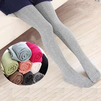 V-TREE Girls Tights Stockings Autumn Winter Thicken Kids Warm Stockings Candy Color Cotton Slim Tights 2-10 Years