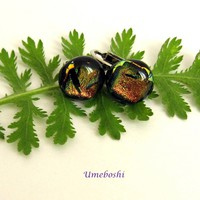 Tiger Eyes Round Dichroic Fused Glass Cabochon Clip Earrings Handmade by Umeboshi Jewelry Designs