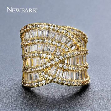 NEWBARK Wide Finger Wedding Cocktail Ring For Women Rhinestone Luxurious Fashion Geometric Shaped Best Quality Jewelry Rings