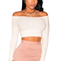 White Off-The-Shoulder Knit Crop Top