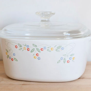 Vintage Corning Ware English Meadow Casserole, 3 Liter Corningware Little Flowers Baking Dish, Corelle Coordinates, A-3-B