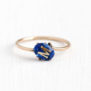 Antique Rosy Yellow Gold Filled Created Blue Foiled Spinel Letter M Signet Ring - Edwardian Size 8 1/4 Dainty Bypass Band W.L. Co Jewelry