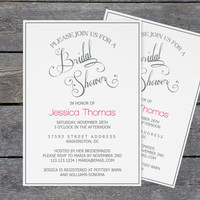 Bridal Shower Invitation Template - Grey Calligraphy Wedding Bridal Shower - 5x7 Editable PDF Template- Instant Download - DIY You Print