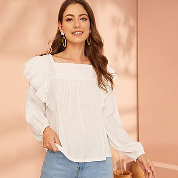 Solid Ruffle Trim Square Neck Blouse