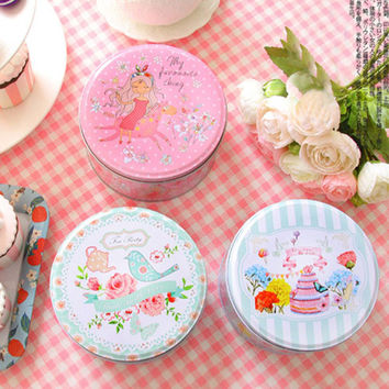 1PCS Round  tin box cookies candy cake box by hand Cute Flower and bird series gift box iron boxes free shipping