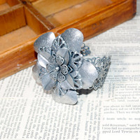 Game of Thrones House TYRELL SILVER Filigree Floral Cuff Bracelet  House sigil  / HighGarden Song of Ice and Fire