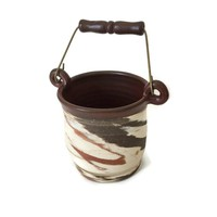 Stoneware Crock with Bail Handle, Agateware Pottery Crock with Swing Handle, Kitchen Utensil Holder, Nerikomi, Neriage, Desk Accessory