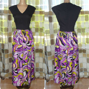 Vintage 70s AMAZING Op-Art Maxi Dress Psychedelic Hostess Gown M/L Purple Black Green Pucciesque