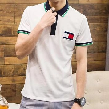 Tommy Hilfiger Trending Women Men Casual Lapel Short Sleeve T-Shirt Pullover Top White I12901-1