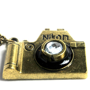 """Instagram Me"" Dark Gold Camera Pendant Necklace"