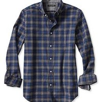 Slim-Fit Plaid Luxe Flannel Button-Down Shirt