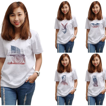 Women Vintage USA Symbols Printed V-Neck Short Sleeves T-shirt WTS_16
