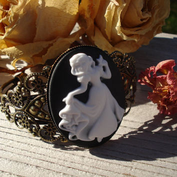 Cameo Cuff Bracelet Victorian Snow White Disney Princess Antique Bronze Bracelet