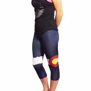 Colorado Flag Athletic Running Yoga Capri Tights