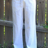 Linen Pants - Taupe and White