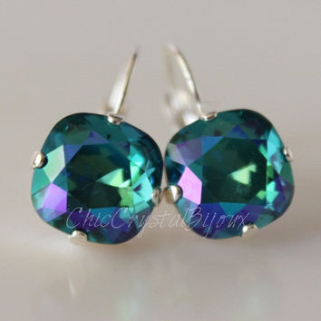 Peacock Earrings - Bridesmaid Earrings - Cushion Cut Square - Crystal Earrings - Blue, Green, Teal - Leverback Earrings - Teal Earrings