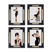 AUDREY HEPBURN 4 art prints on dictionary page by EphemeraAndMore
