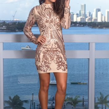 Rose Gold and Beige Sequin Short Dress with Long Sleeves