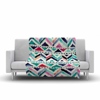 "Crystal Walen ""Celestial Tribal Stripe"" Teal Chevron Fleece Throw Blanket"