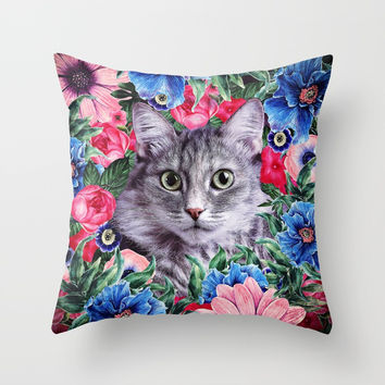 Cat In Flowers. Summer Throw Pillow by Oksana