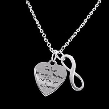 The Love Between A Mother And Her Son Is Forever Valentine Infinity Necklace