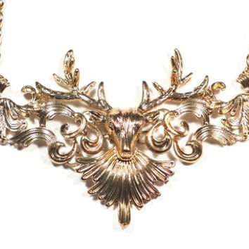 Stag Crest Necklace Deer Elk Antlers Taxidermy Pendant NA18 Antique Bib Hinged Plate Fashion Jewelry