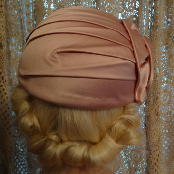 Vintage Pleated Satin Like Flapper Hat, Cuffed Profile Hat, Spring Time Wedding Pink, Cloche Style Milbrae Exclusives, Flapper Style