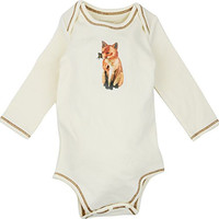 Long Sleeve Unisex Baby Onesuits w/ Imprints Fox