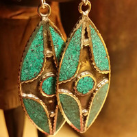 Turquoise Earrings Chandelier Earrings Leaf Earrings Marquise Earrings GemStone Earrings  Beaded Earrings Multistone Inlay Earrings