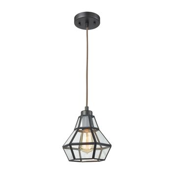 57125/1 Window Pane 1 Light Pendant In Oil Rubbed Bronze With Clear Glass