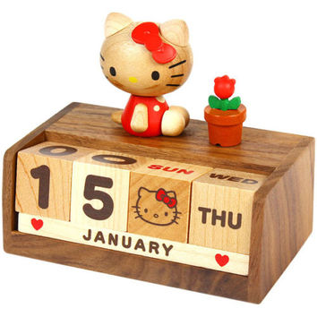Hello Kitty Wooden Block Perpetual Desk Calendar Sanrio -Wood Office Decor