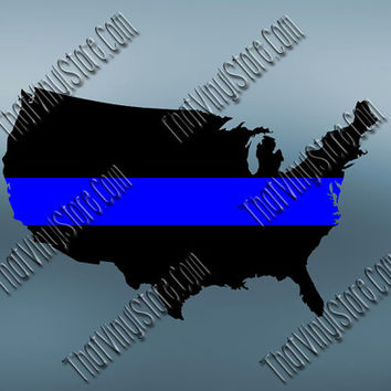 United States Back the Blue Flag Thin Blue Line Vinyl Decal | Yeti Cop Decal | Distressed American Flag | Blue Lives Matter | 510