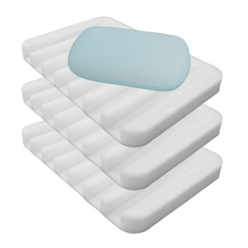 Evelots 3 Silicone Soap Dish Holders Waterfall Soap Saver Trays,Bath & Kitchen