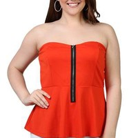 plus size peplum tube top with exposed zipper front - 1000047110 - debshops.com