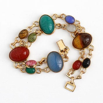 Vintage Scarab Bracelet - 14k Rosy Yellow Gold Filled Two Panel Statement - Retro Egyptian Tiger's Eye Oval Carved Beetle Bug Gem Jewelry