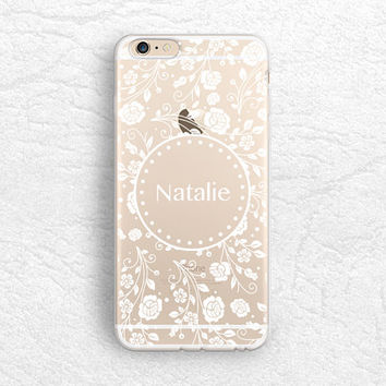 Floral pattern Personalized Monogram phone case for iPhone 6s, Samsung S6, HTC One M9, LG G3 G4, Nexus 6P clear soft case with Custom name