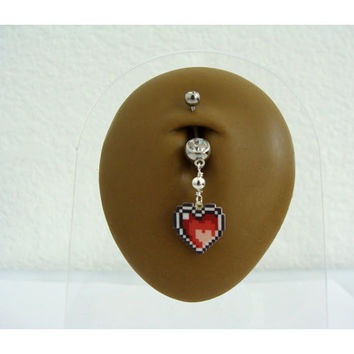 Legend of Zelda Heart  Container Belly Ring - Double Gem  - Choose Gem Color -14g