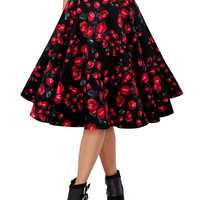 Black Rose Print Midi Tent Skirt